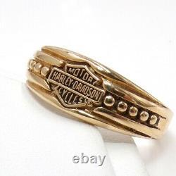 Harley Davidson Stamper Bar & Shield Band 10K Yellow Gold Ring Size 6.75 LJF3