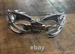 Harley-Davidson Sterling Silver. 925 Flaming Bar & Shield Cuff Bracelet FM