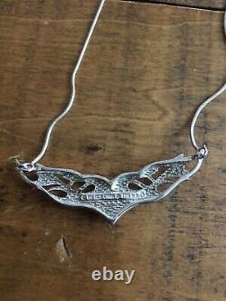 Harley-Davidson Sterling Silver. 925 Flaming Wing Bar & Shield Necklace FM
