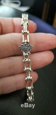 Harley Davidson Sterling Silver Bike Chain Link Bracelet Bar and Shield Clasp