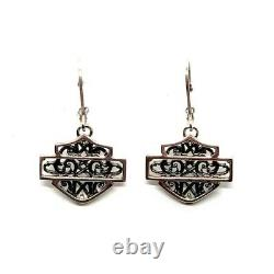 Harley Davidson Sterling Silver Lacy Bar and Shield Logo Earrings