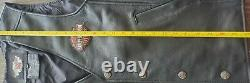 Harley Davidson Stock Leather Vest With Bar Shield Embroidery Mens Large