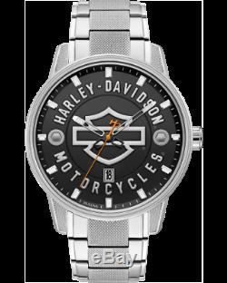 Harley Davidson Watch Bar Shield Stainless Black Dial 76B182 Bulova