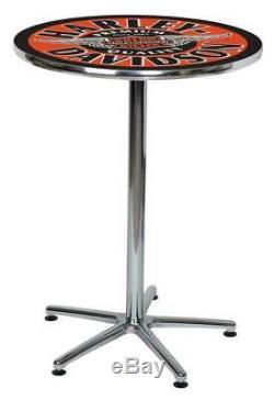 Harley-Davidson Winged Bar & Shield Round Cafe Table Black & Orange HDL-12328