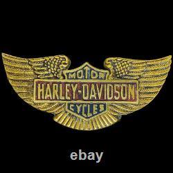 Harley Davidson Wings Bar Shield Biker Baron Brass 70s 1979 NOS Vtg Belt Buckle