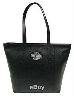 Harley-Davidson Women's Bar & Shield Travel Leather Black Tote Bag 99516-BLACK
