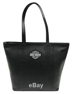 Harley-Davidson Women's Bar & Shield Travel Leather Tote Bag, Black 99516-BLACK