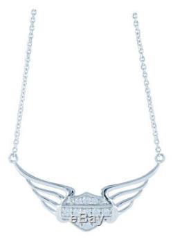 Harley-Davidson Women's Bling Bar & Shield Pierced Wings Necklace HDN0348-18