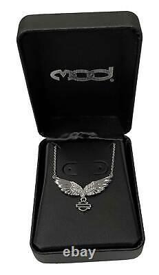 Harley-Davidson Women's Bling Wing Bar & Shield Necklace, Sterling Silver