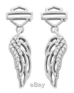 Harley-Davidson Women's Earrings, Bar & Shield Wing Dangle, Silver HDE0336