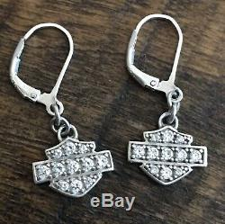 Harley-Davidson Women's Earrings, Bling Bar & Shield Dangles Sterling Silver. 925