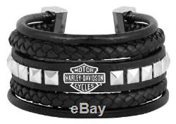 Harley-Davidson Women's Leather Steel Bar & Shield Rope Bracelet, Black HSB0189
