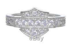 Harley-Davidson Women's Ring, Silver Bling Bar & Shield Band, Silver HDR0159