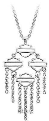 Harley-Davidson Women's Silver Multiple Bar & Shield Drop Necklace HDN0413-16