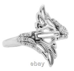 Harley-Davidson Womens. 925 Silver Bar & Shield Double Wing Bling Ring HDR0338