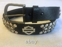 Harley-Davidson Womens Bar & Shield Jeweled Studded Leather Belt Size M (8-10)