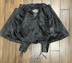 Harley Davidson Womens Black Leather Jacket Size XLarge Tribal Bar & Shield