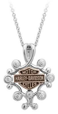 Harley-Davidson Womens Rhinestone Filigree Bar & Shield Drop Necklace HDN0415-16