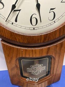 Harley Davidson Wood Clock With Pendulum Bar & Shield, 1997 H-D, Inc