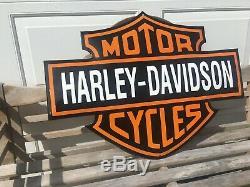 Harley Davidson large Porcelain Motorcycle Bar Shield Sign 31.5 x 24 convex