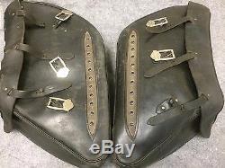 Harley Road King Leather Saddlebags 3 Buckle Design Bar & Shield