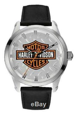 Harley-davidson Men's Bar & Shield Diamond Plate Stainless Steel Watch 76a145