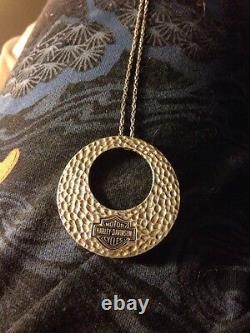 Harley-davidson Sterling Silver Bar & Shield Hammered Circle Necklace 925 Rope