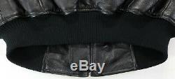 Harley davidson leather bomber jacket S M black orange bar shield stretch waist