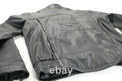 Harley davidson leather jacket L SHIFTER black embossed bar shield zip vents