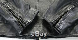 Harley davidson leather jacket L black classic 98153-09VW zip bar shield armor