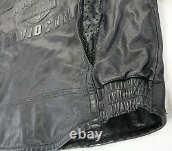 Harley davidson leather jacket XL SHIFTER black embossed bar shield zip vents