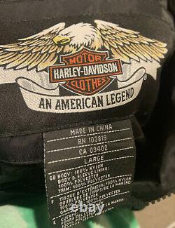 Harley davidson racing jacket L nylon black orange bar shield zip. RN 103819