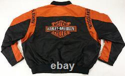 Harley davidson racing jacket XL nylon black orange bar shield 97068-00V zip