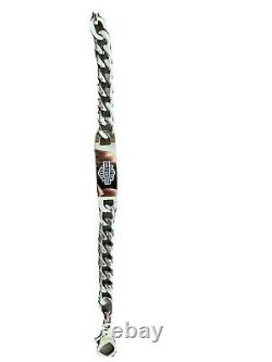 Harley davidson stainless steel Bracelet With Bar And Shield Logo, 8 Inches