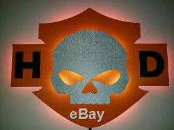 Illuminated LED Harley Davidson Inspired Night Light Bar and Shield Sign Willy G