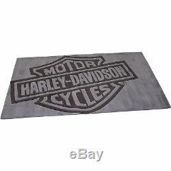Large Harley-Davidson Bar & Shield Handmade Area Rug, Gray 8ft. L x 5ft. W