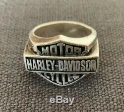 MENS Thierry Martino Harley Davidson Pure. 925 Silver BAR & SHIELD RING SIZE 12