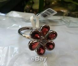 MOD Harley-Davidson Bar & Shield Sterling Silver Garnet Flower Ring Sz 8 NEW