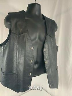 Men's Harley Davidson Leather Vest L Black Basic Skins Rider Snap Bar Shield