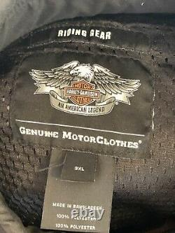 Men's Harley Davidson Mesh Riding Jacket Reflective Bar & Shield Gray XXXL 3x