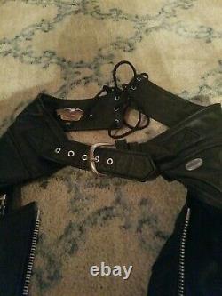 Mens Harley Davidson Leather Chaps S Black stock 98480-97VM bar shield snaps