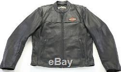 Mens Harley Davidson leather jacket L Stock 98112-06VM black bar shield zip