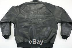 Mens harley davidson jacket leather bomber 2xl xxl black embossed bar shield