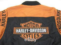Mens harley davidson jacket s m nylon black orange bar shield 97068-00V zip up