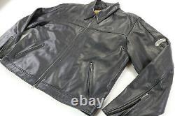 Mens harley davidson leather bomber jacket 2XL black embossed bar shield quilted