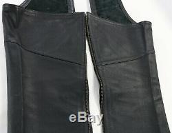 Mens harley davidson leather chaps L black stock 98090-06VM bar shield snaps
