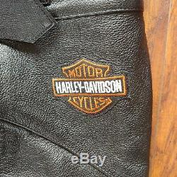 Mens harley davidson leather chaps XL black stock 98090-06VM bar shield snaps