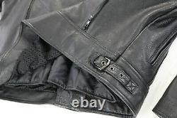 Mens harley davidson leather jacket 2XL black nevada 98122-98VM bar shield liner