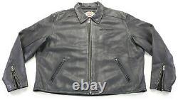 Mens harley davidson leather jacket 3XL black Open Road embossed bar shield zip