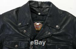 Mens harley davidson leather jacket L black nevada 98122-98VM bar shield liner